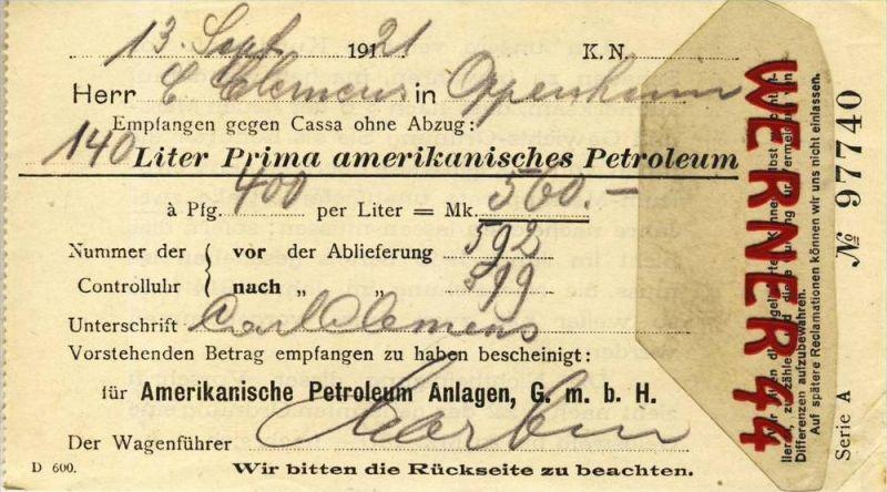 Amerikanische Petroleum Anlagen G.m.b.H v. 1921 140 Liter Prima amerikanisches Petroleum gekauft --- siehe Foto!!  (097)
