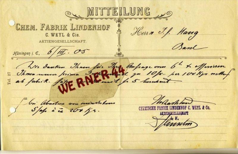 Hüningen i. E. v. 1905  Chem. Fabrik Lindenhof --- siehe Foto!!  (099)
