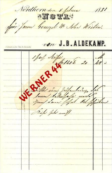 Nordhorn v. 1882  J. B. Aldekamp --  siehe Foto !!   (106)