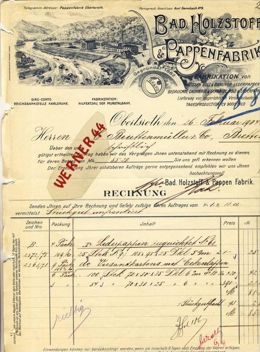 Obertsroth v. 1904  Bad,Holzstoff,Papierfabrik --  siehe Foto !!   (108)