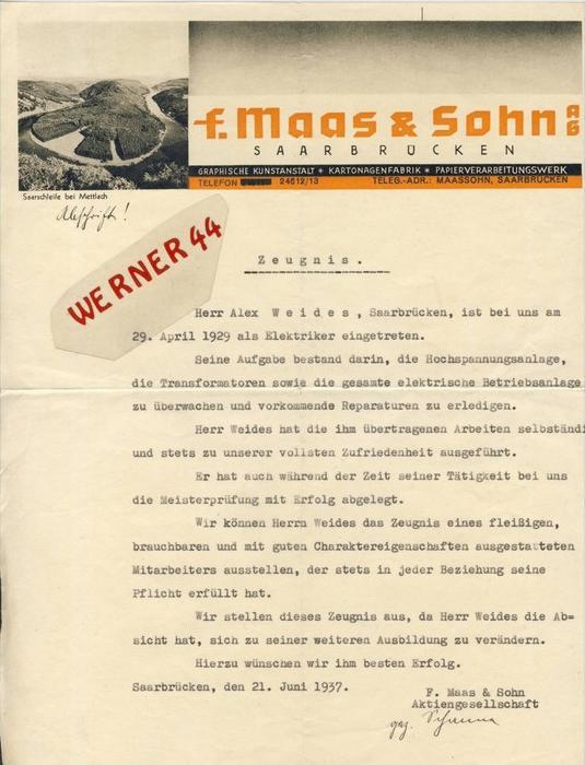 Saarbrücken v. 1929  F. Maas & Sohn,Kartonagenfabrik,-Alex Weides -- ZEUGNIS --  siehe Foto !!   (110)