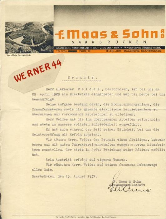 Saarbrücken v. 1929  F. Maas & Sohn,Kartonagenfabrik,-Al ex Weides -- ZEUGNIS --  siehe Foto !!   (111)