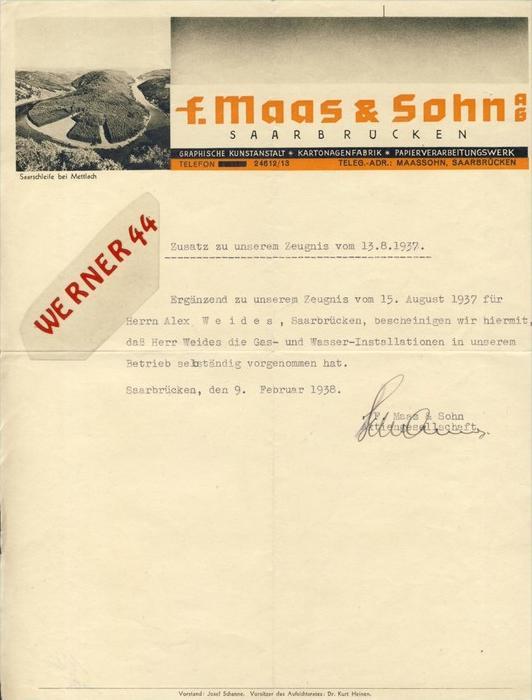 Saarbrücken v. 1937  F. Maas & Sohn,Kartonagenfabrik,-Al ex Weides -- ZEUGNIS --  siehe Foto !!   (112)