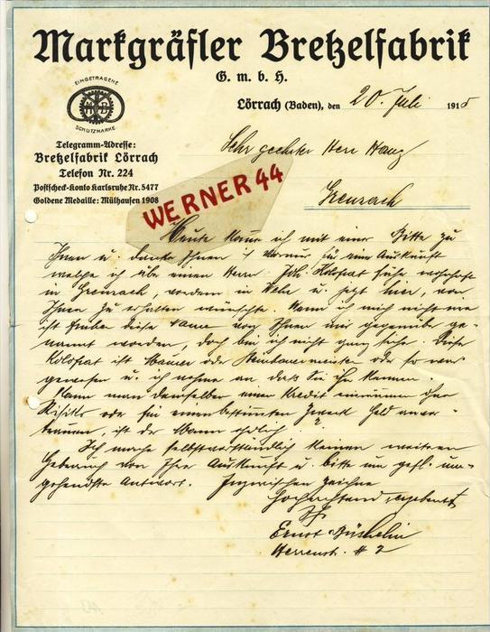 Lörrach v. 1910  Markgräfler Bretzelfabrik --  siehe Foto !!   (113)