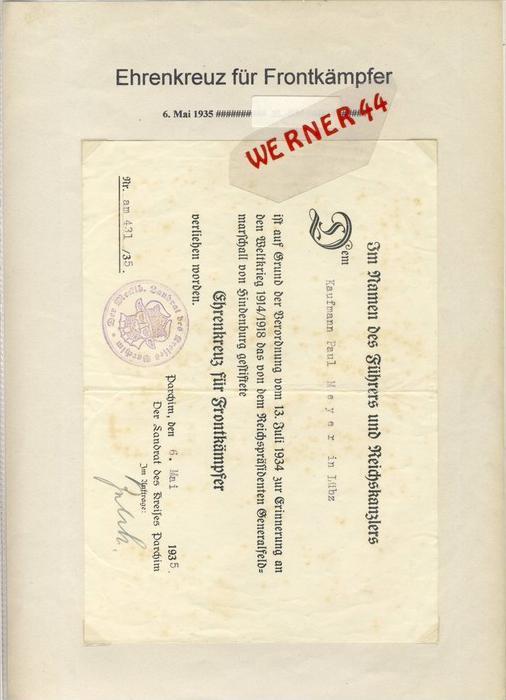 Parchim v. 1935  Ehrenkreuz für Frontkämpfer  --  siehe Foto !!   (092)