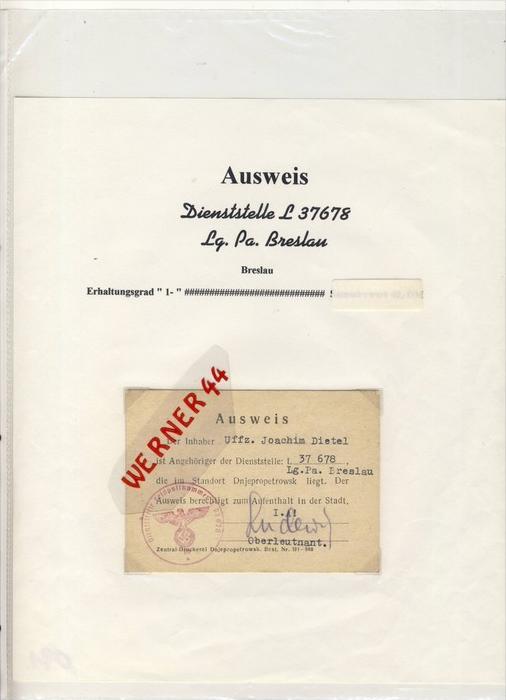Breslau, Dienststelle L 37678-Lg.Pa. Breslau, AUSWEIS für Uffz. Joachim Dietel  --  siehe Foto !!   (091)