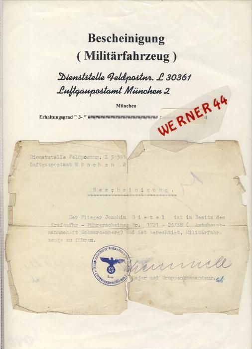 Luftgaupostamt München ,  Flieger Joachim Dietel---Kraftfahr Führerschein   --  siehe Foto !!   (090)