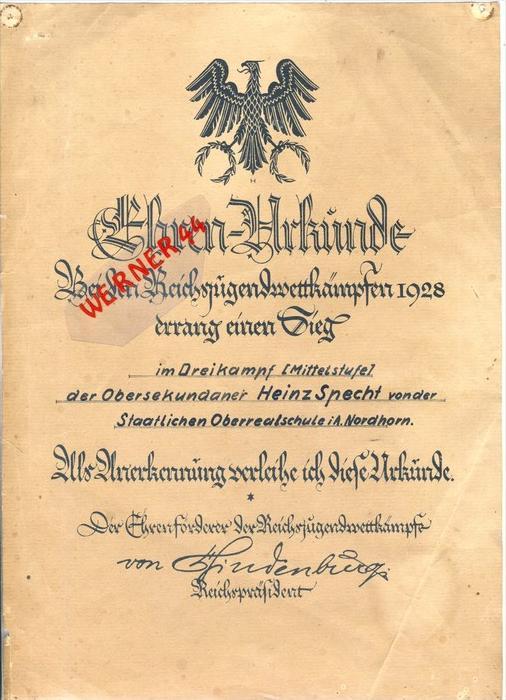 Nordhorn v. 1928  Reichsjugendwettkämpfe--Ehren Urkunde H. Specht --  siehe Foto !!   (088)
