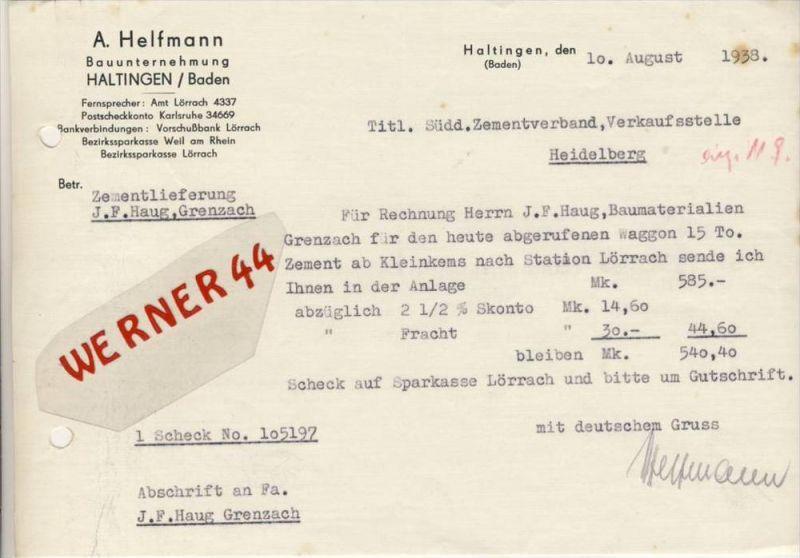 Haltingen v. 1938 A. Helfmann - Bauunternehmung -- siehe Foto !!  (086)