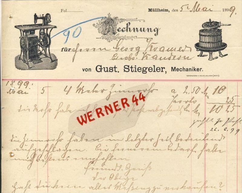Müllheim v. 1899  Gust. Stiegeler--Mechaniker --siehe Foto !!  (079)