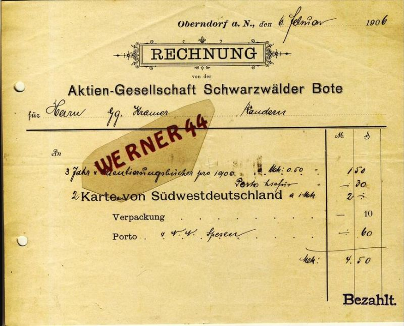 Oberndorf a. N. v. 1906  Aktien Gesellschaft Schwarzwälder Bote -- siehe Foto !!  (078)