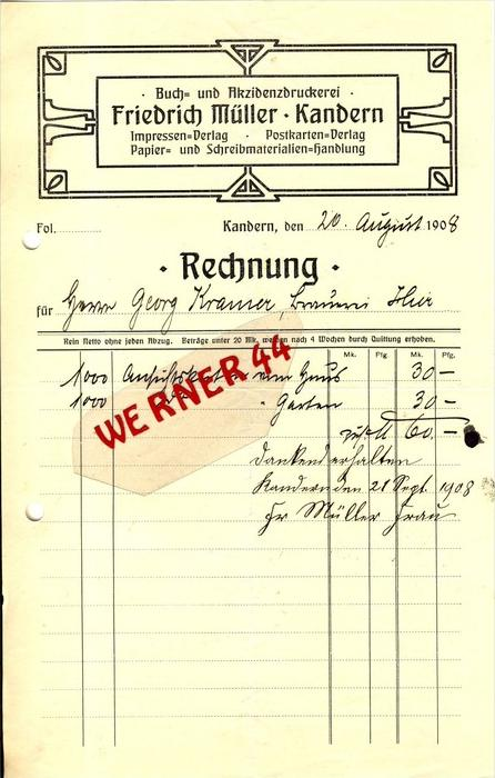 Kandern v. 1908  Friedrich Müller, Buch ubd Akzidenzdruckerei -- siehe Foto !!  (077)