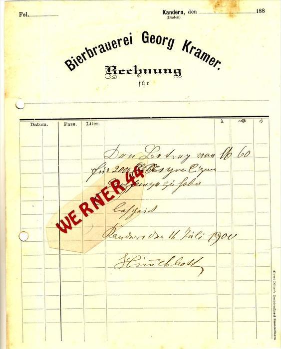 Kandern v. 1900  Georg Kramer, BIERBRAUEREI -- siehe Foto !!  (075)