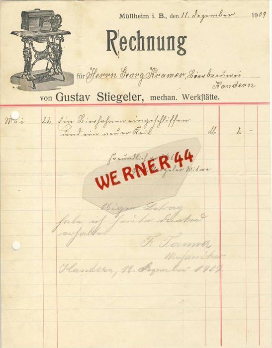 Müllheim v. 1909  Gustav Stiegeler, mechan. Werkstätte -- siehe Foto !!  (073)