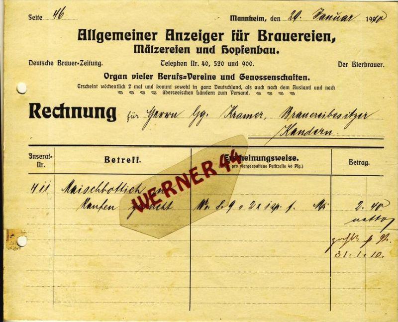 Mannheim v. 1900 Allgemeiner Anzeiger für BRAUEREIEN -- siehe Foto !!  (072)