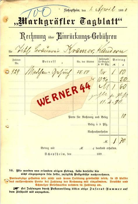 Schopfheim v. 1890  Markgräfler Tagblatt -- siehe Foto !!  (071)