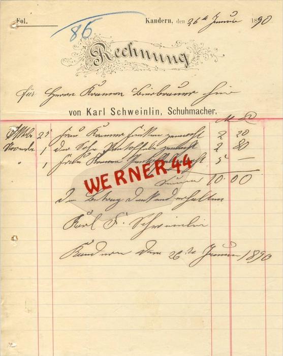 Kandern v. 1890 Karl Schweinlin,Schuhmacher-- siehe Foto !!  (070)