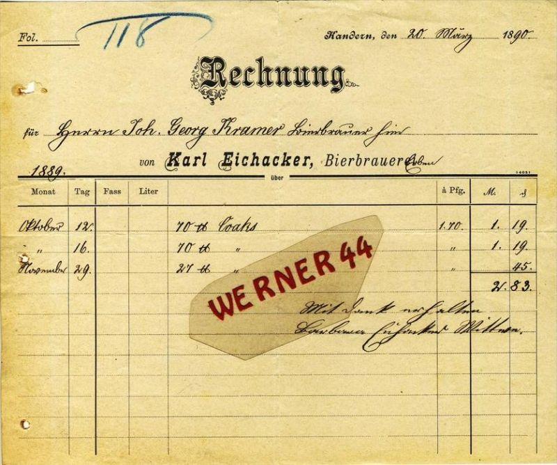 Kandern v. 1890  Karl Eichacker, BIERBRAUEREI -- siehe Foto !!  (068)