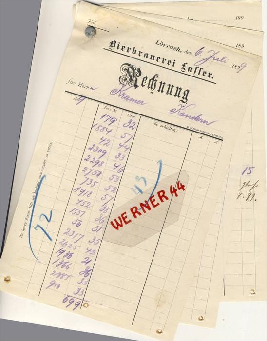 Lörrach v. 1899  BIERBRAUEREI LASSER -- siehe Foto !!  (067)