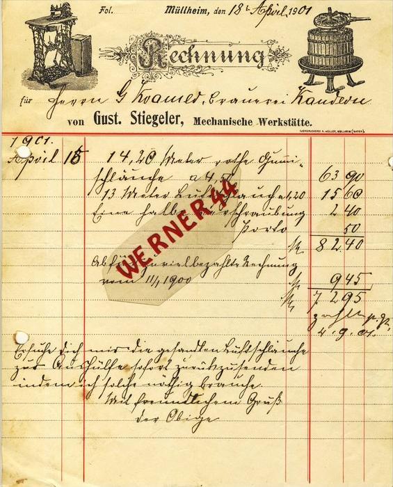 Müllheim v. 1901  Gust. Stiegeler, Mechanische Werkstätte -- siehe Foto !!  (066)