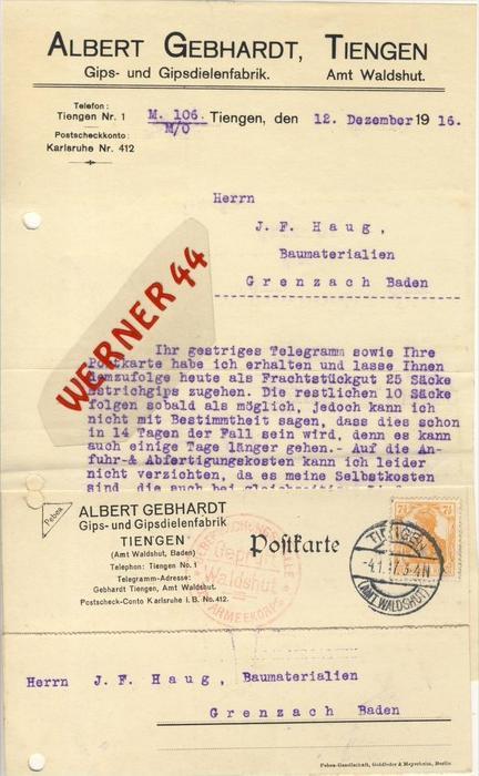 Tiengen v. 1916  Albert Gebhardt, Gipsdielenfabrik -- siehe Foto !!  (063)