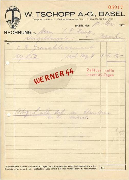 Basel v. 1932  W. Tschopp A.-G.,Zementfabrik -- siehe Foto !!  (062)