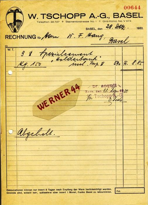 Basel v. 1932  W. Tschopp A.-G.,Zementfabrik -- siehe Foto !!  (060)