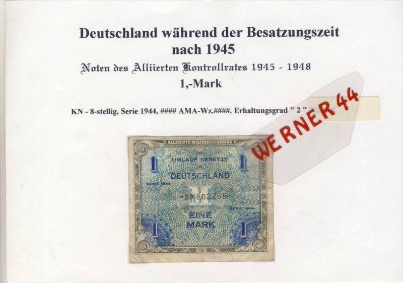 Deutschland wärend der Besatzungszeit nach 1945--Noten des Alliierten Kontrollrates, 1 Mark (054)