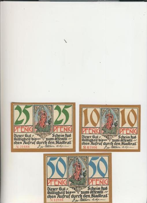 Kahla v. 1920   10,25,50 Pfennig  ---   ( NOTGELD )   (1476)