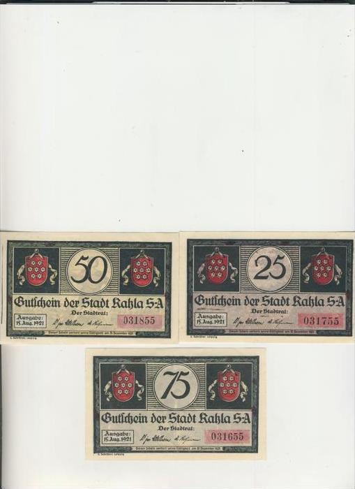 Kahla v. 1921  25,50,75  Pfennig  ---   ( NOTGELD )   (1477)