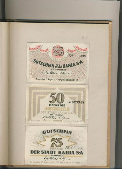 Kahla v. 1921  25,50,75 Pfennigt  ---   ( GUTSCHEIN )   (1479)