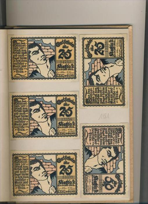 Kahla v. 1921 4x 25,4x50,4x75 Pfennigt  ---   ( GUTSCHEIN )   (1481)