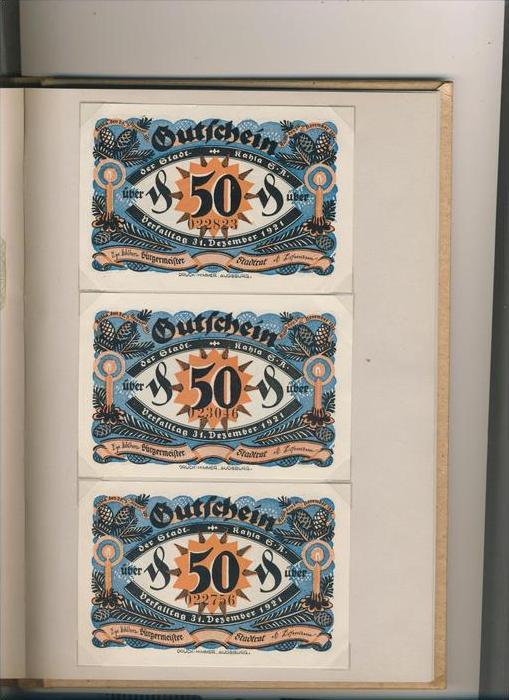 Kahla v. 1921 6x50 Pfennig  ---   ( GUTSCHEIN )   (1482)
