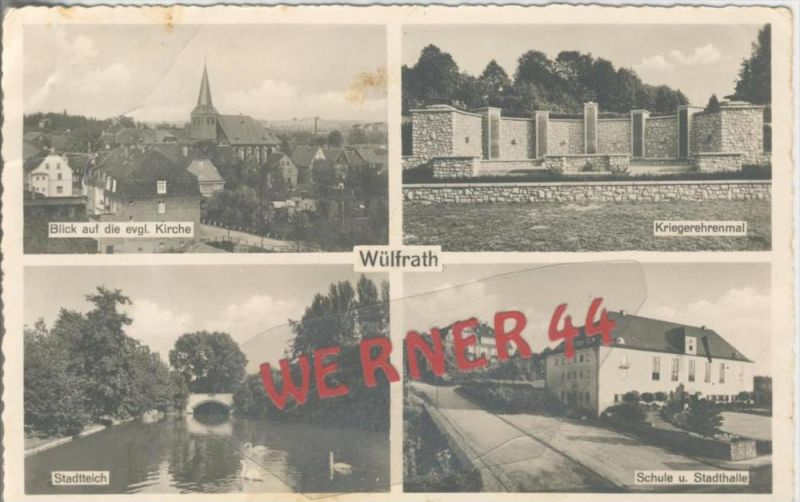 Wülfrath v. 1952  4 Stadt-Ansichten  --  siehe Foto !!   (36470)