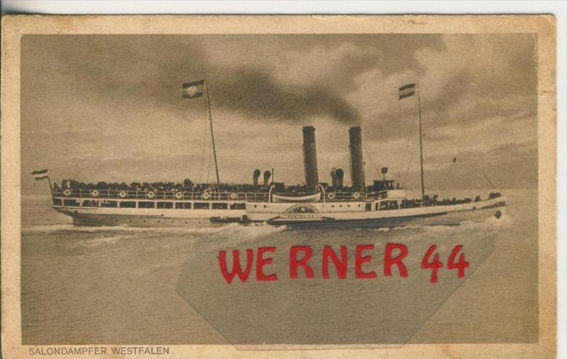 Salondampfer Westfalen v. 1926  mit Restaurateur : H. Folkerts,Emden  ---  siehe Foto !!   (27792)