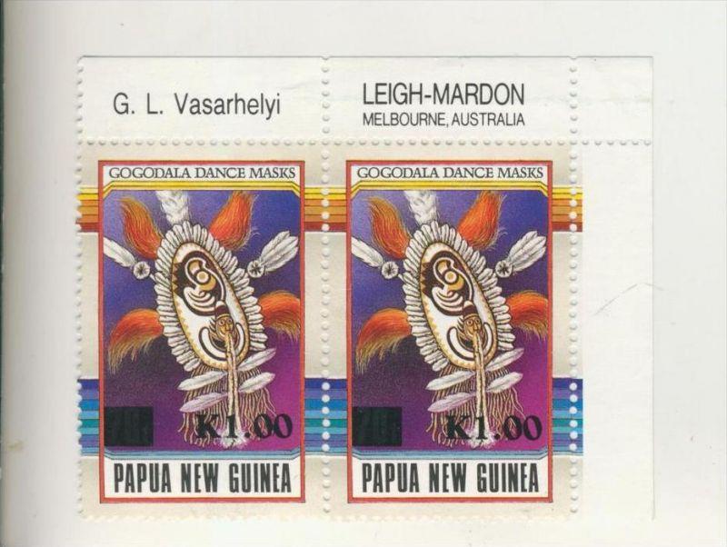 Papua New Guinea v. 1993   2 x K 1.00  --  Gogodala Dance Masks ......(4)