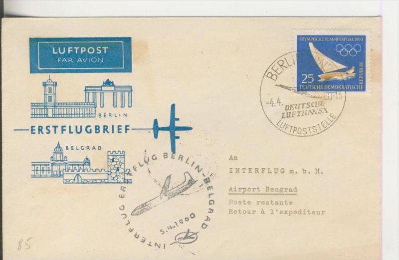Erstflugbrief Berlin-Belgrad vom 5.4.1960  ---  siehe Fotro !!!  --  25 Pfennig  (85)