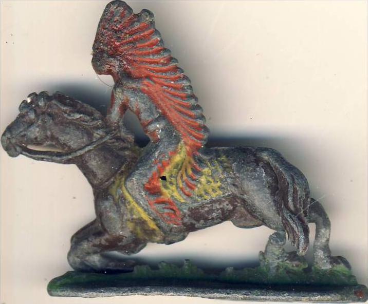 Antik-Zinn-Indianer auf dem Pferd im Galopp ca. von 1938  --- siehe Foto !!   (6)