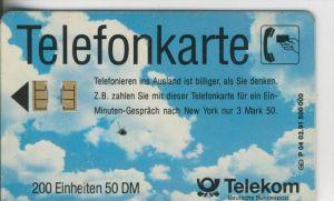 Telekom Karte v.  1991 Telefonieren im Ausland  (50)