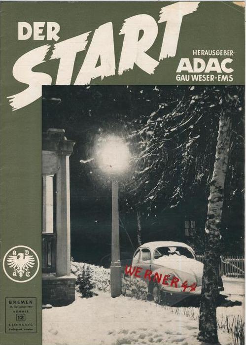ADAC Gau Weser-Ems, Der Start  1954 - Nr. 12 -- siehe beschr. !!