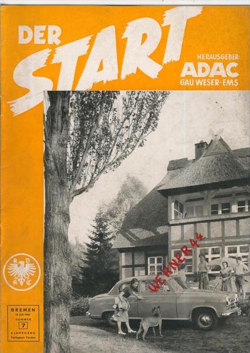 ADAC Gau Weser-Ems, Der Start  1954 - Nr. 7 -- siehe beschr. !!