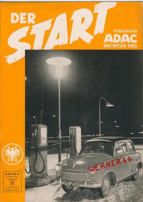 ADAC Gau Weser-Ems, Der Start  1954 - Nr. 2 -- siehe beschr. !!