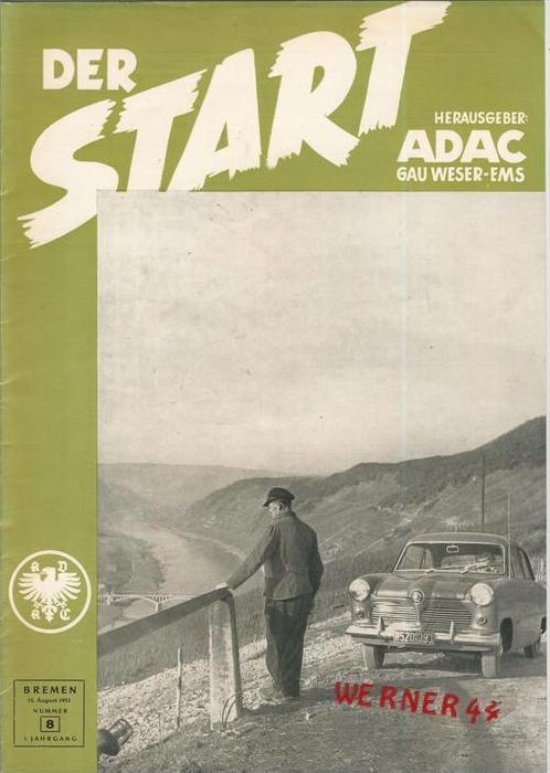 ADAC Gau Weser-Ems, Der Start  1953 - Nr. 8 -- siehe beschr. !!