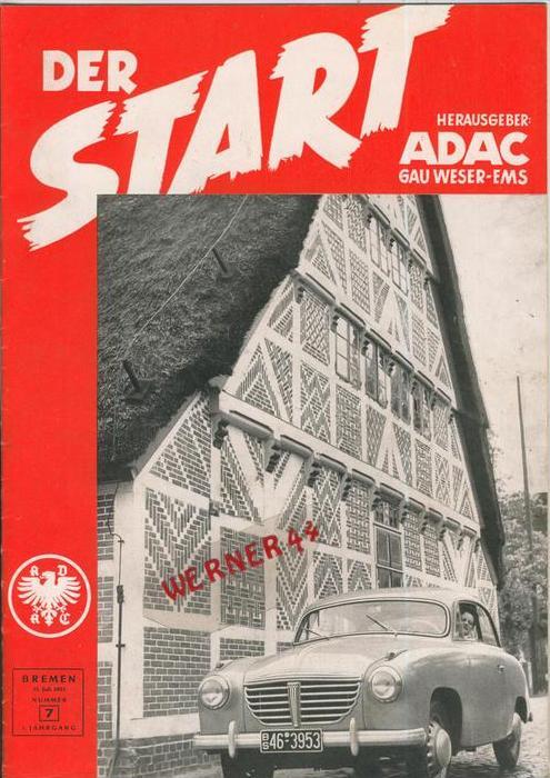 ADAC Gau Weser-Ems, Der Start  1953 - Nr. 7 -- siehe beschr. !!