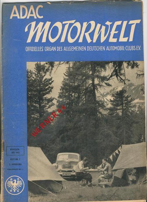 ADAC Gau Weser-Ems, Der Start  1952 - Nr. 7 -- siehe beschr. !!