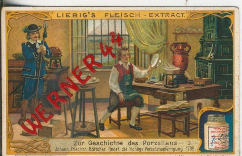 Liebig`s - Geschichte des Porzellans -- Johann F. Böttcher findet die richtige..... -- Sammelbild   (9)