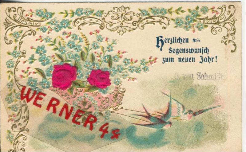 Herzlichen Segenswunsch zum neuen Jahr v. 1903  Schwalben und Rosen aus Stoff  --  (36615)