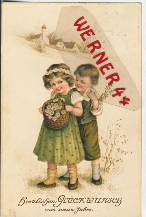 Herzlichen Glückwunsch zum neuen Jahr v. 1911  Junge & Mädchen mit Blumenkorb  --  (36617)
