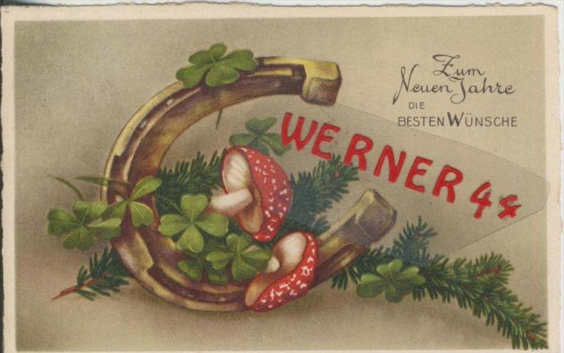 Zum Neuen Jahre die Besten Wünsche v. 1938  Hufeisen,Pilz,Tannengrün,Kleeblatt  --  (36625)
