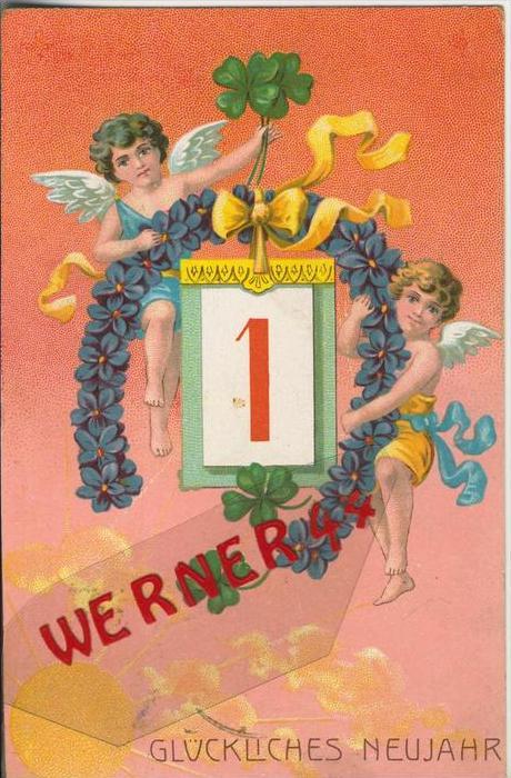 Glückliches Neujahr v. 1907  2 Engel mit einen Hufeisenkranz mit Blüten  --  (36643)